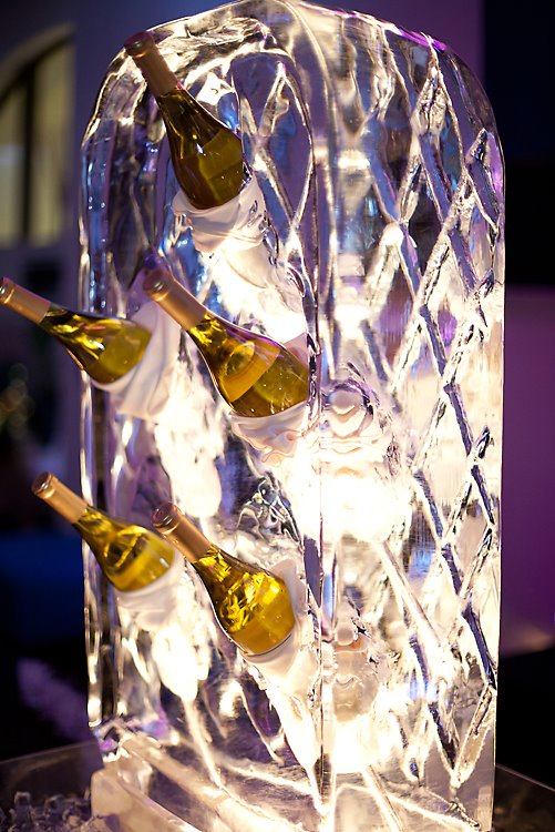 wine rack ice sculpture